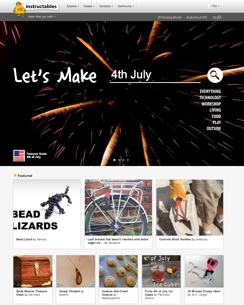 Featured on Instructables homepage 7-4-2013